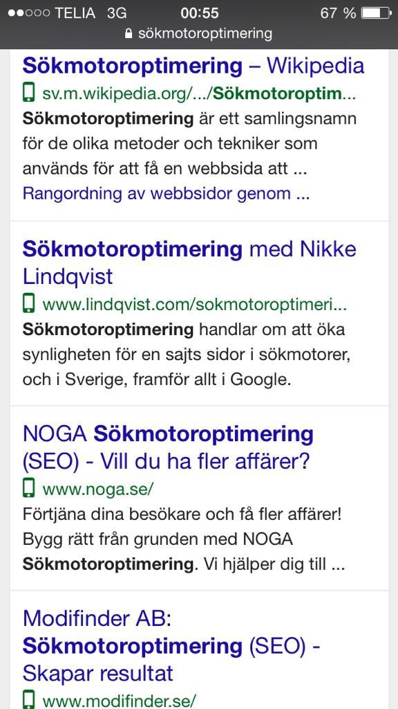 Test med mobilsymbol på Google