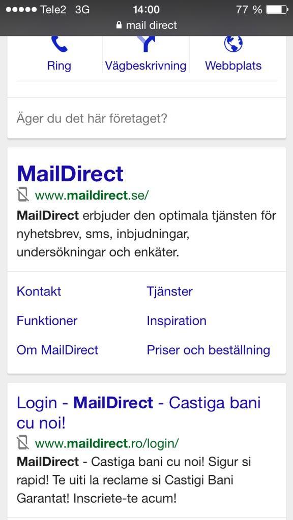 Test med negativ mobilsymbol på Google
